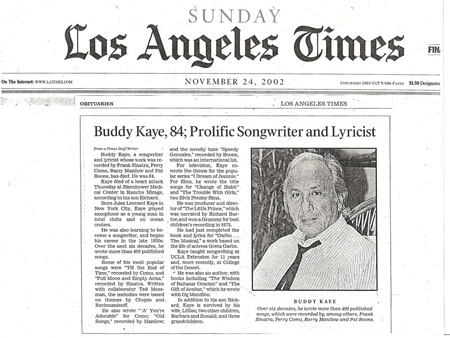 Buddy Kaye LA Times Obituary