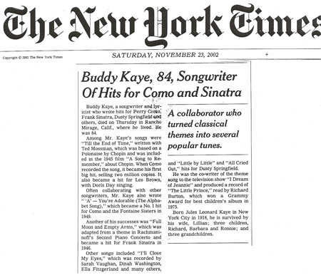 Buddy Kaye New York Times Obituary